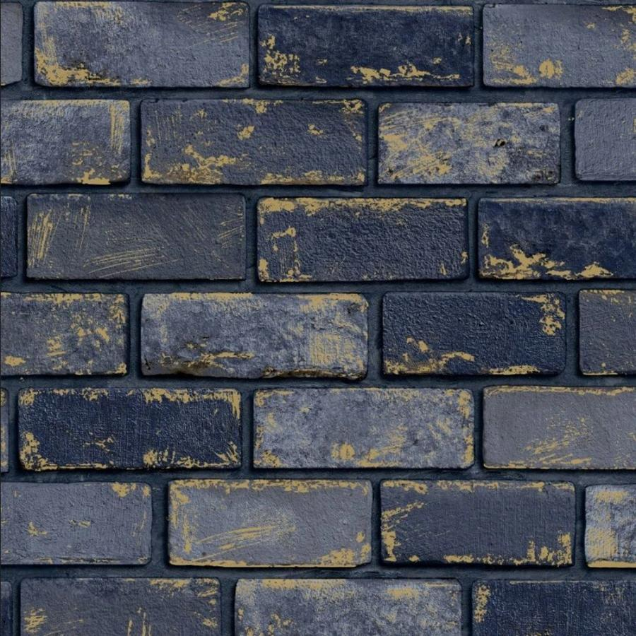 Arthouse Metallic Brick Navy/Gold Wallpaper - 692200