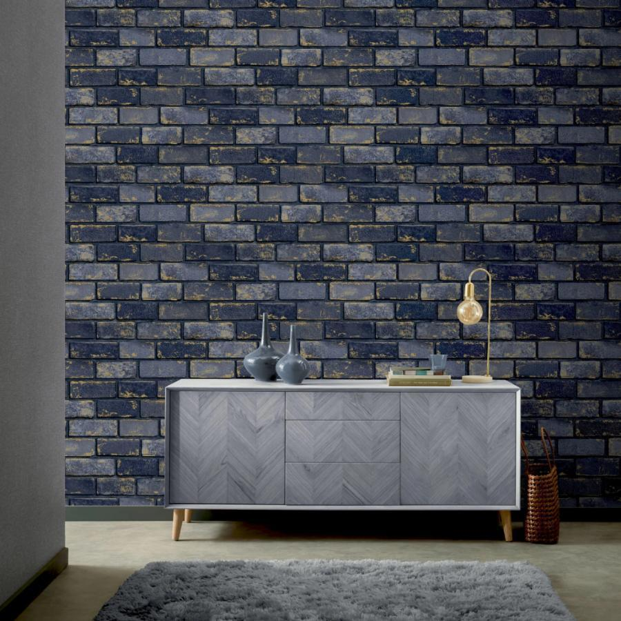 Arthouse Metallic Brick Navy/Gold Wallpaper - 692200 Arthouse Metallic Brick Navy/Gold Wallpaper - 692200