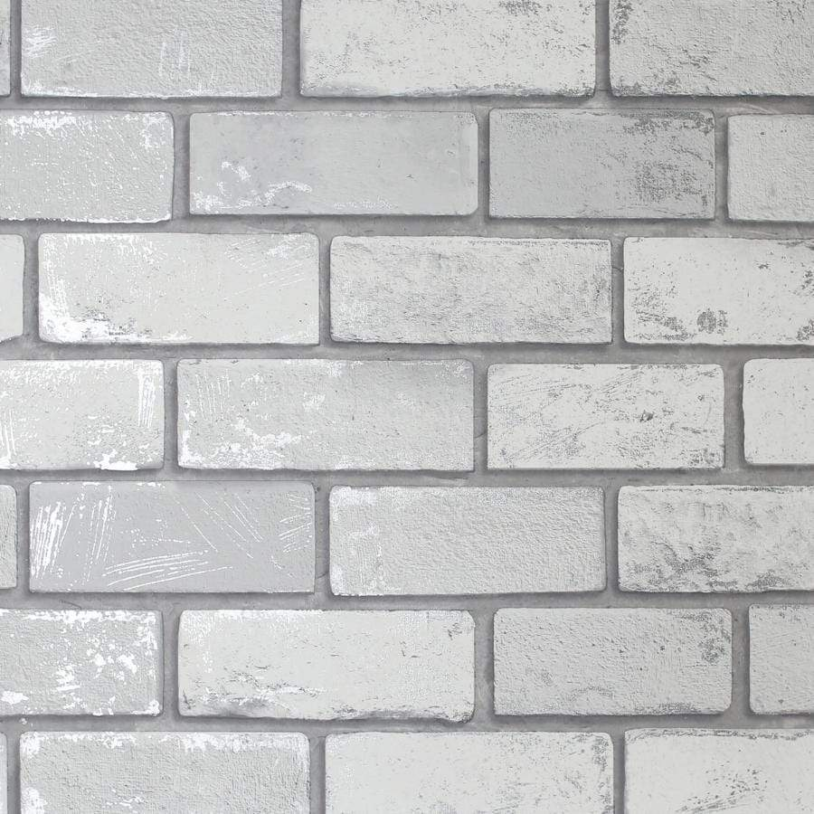 Arthouse Metallic Brick White/Silver Wallpaper Sample - 692201 Arthouse Metallic Brick White/Silver Wallpaper Sample - 692201