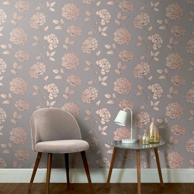 Arthouse Metallic Pretty Floral Charcoal/Rose Gold Wallpaper - 688001 Arthouse Metallic Pretty Floral Charcoal/Rose Gold Wallpaper - 688001