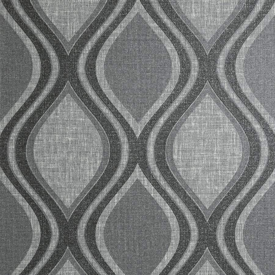 Arthouse Ogee Curve Geometric Charcoal Wallpaper Sample - 295100