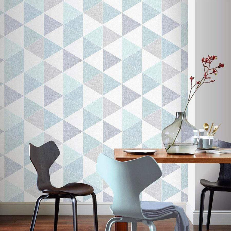 Arthouse Scandi Triangle Teal Wallpaper - 908205