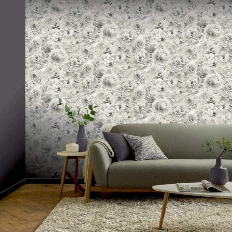 Arthouse Silver Floral Bloom Glitter Wallpaper - 692803 Arthouse Silver Floral Bloom Glitter Wallpaper - 692803