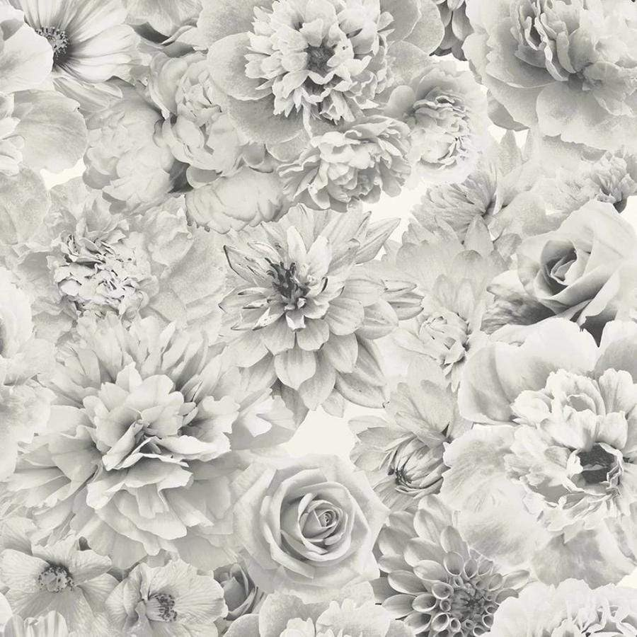 Arthouse Silver Floral Bloom Glitter Wallpaper Sample - 692803