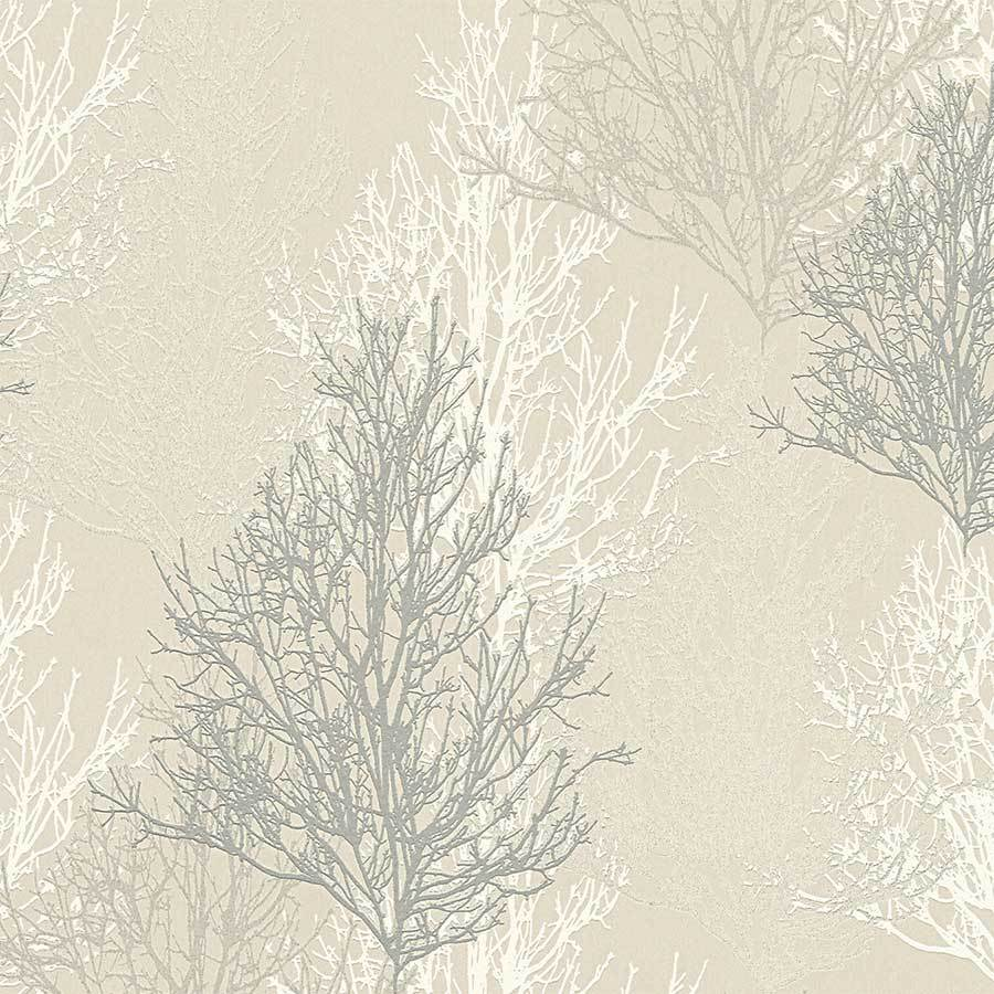 AS Creations Cream & Grey Glitter Trees Wallpaper Sample - 34819-2