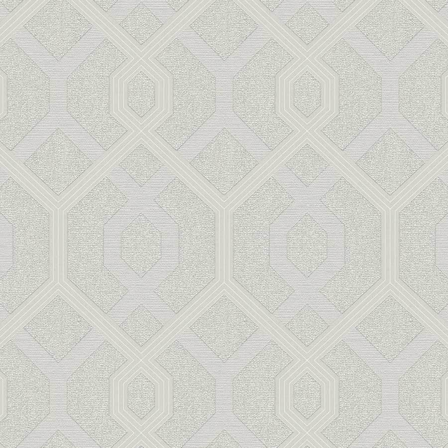 AS Creations Geo Silver Trellis Wallpaper Sample - 36874-3
