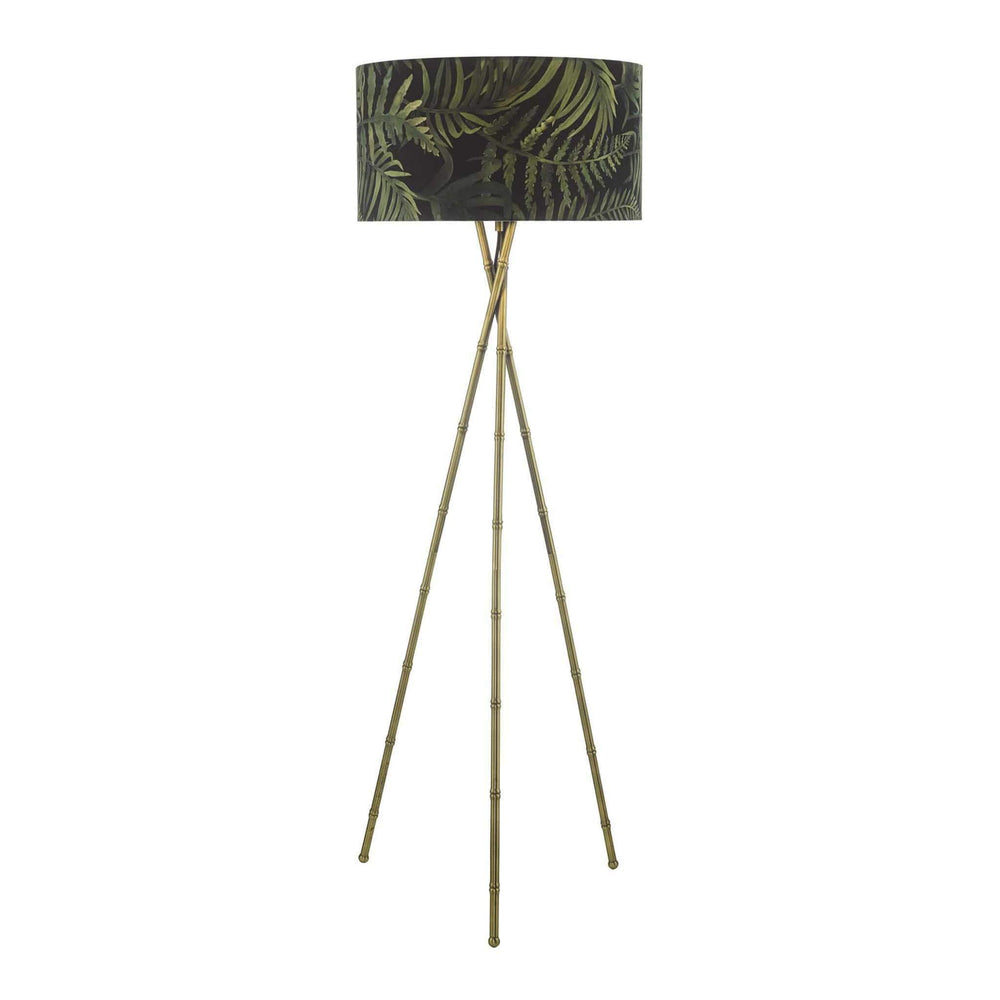 Bamboo Floor Lamp Antique Brass Base and Tropical Shade