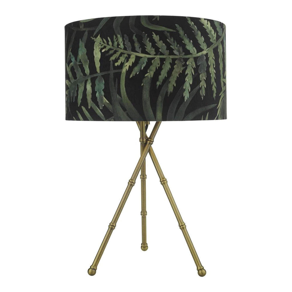 Bamboo Table Lamp Antique Brass Base and Tropical Shade Bamboo Table Lamp Antique Brass Base and Tropical Shade