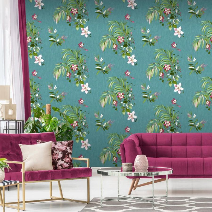 Belgravia Botanique Floral Teal Wallpaper - 3420