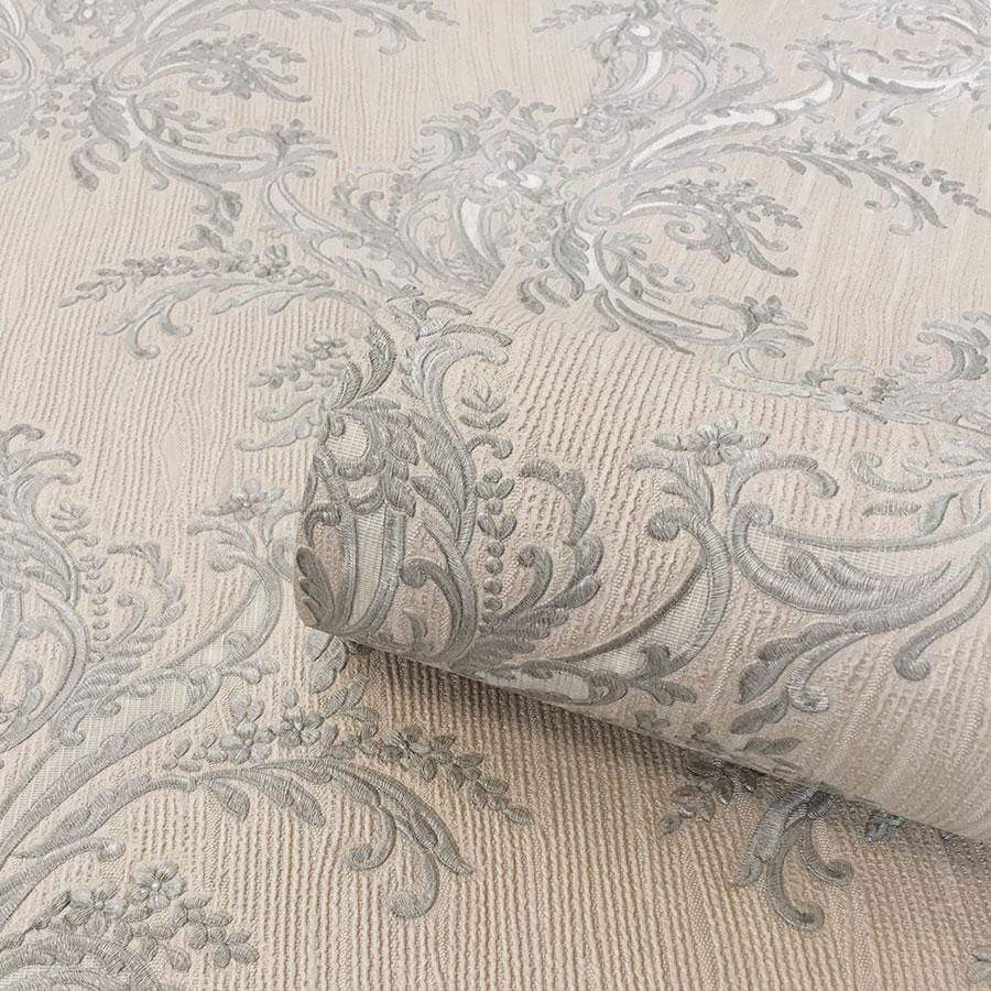 Belgravia Sofia Blue Damask Textured Sample - 6342