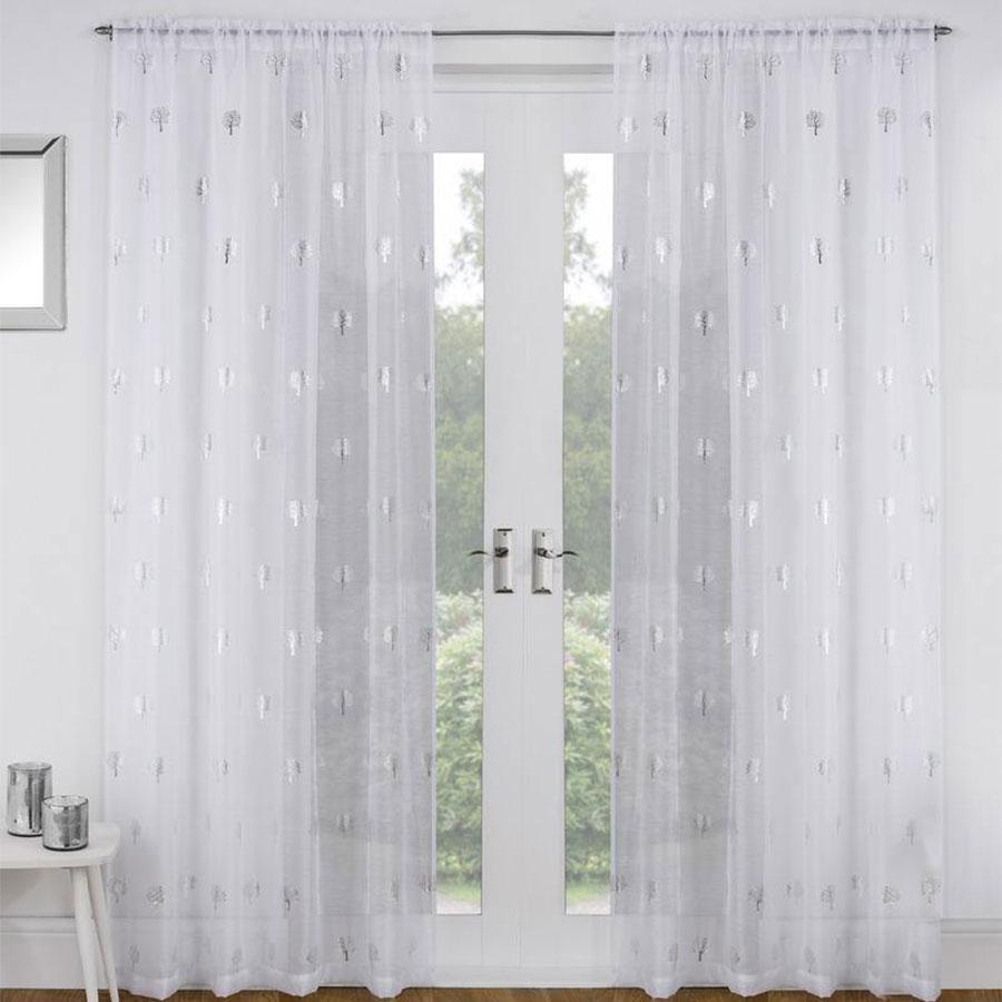 Birch Tree White Voile Panel Curtain