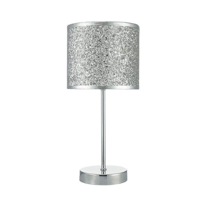 Bistro Touch Table Lamp Polished Chrome C/W Silver Glitter Shade