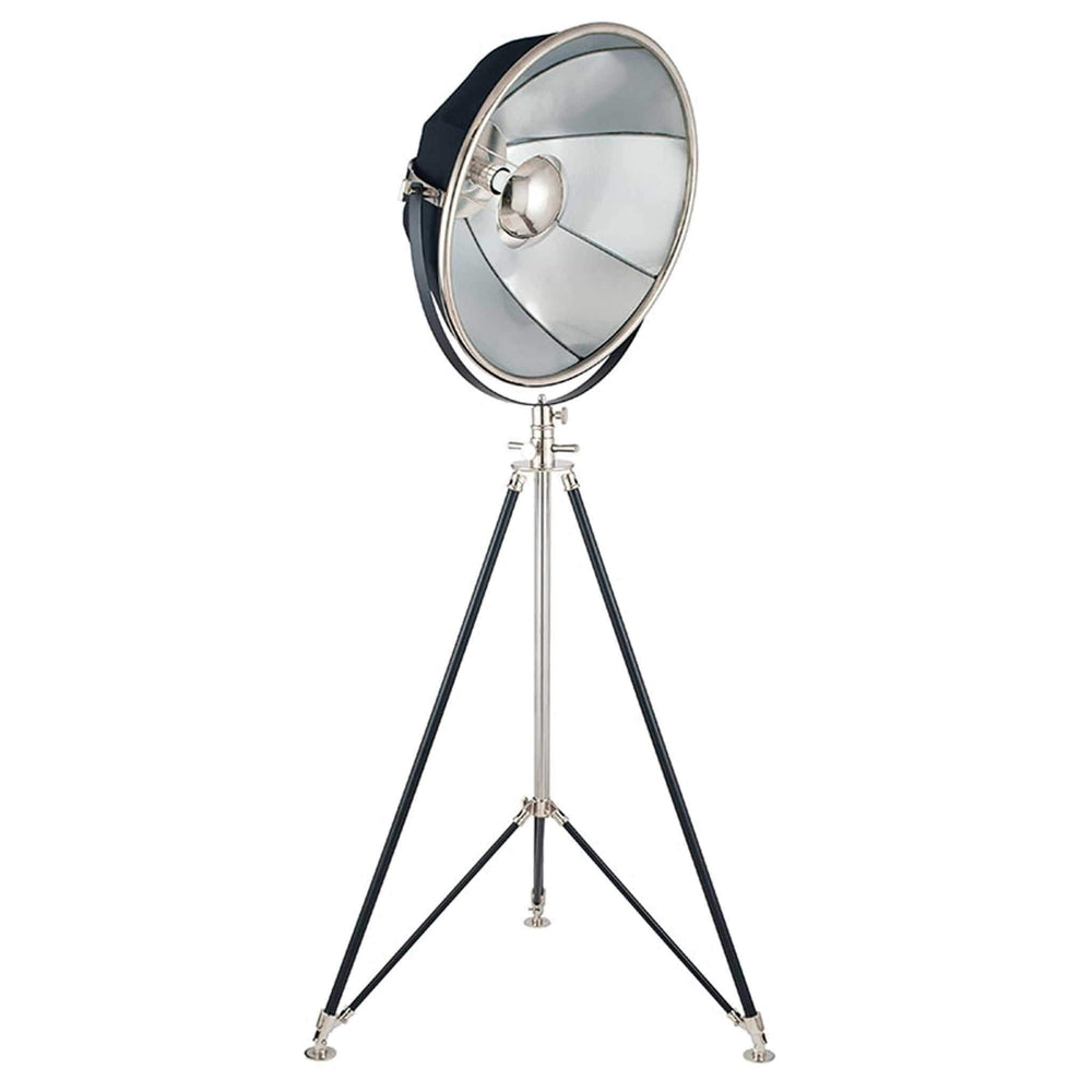 Black and Silver Metal Tripod Floor Lamp