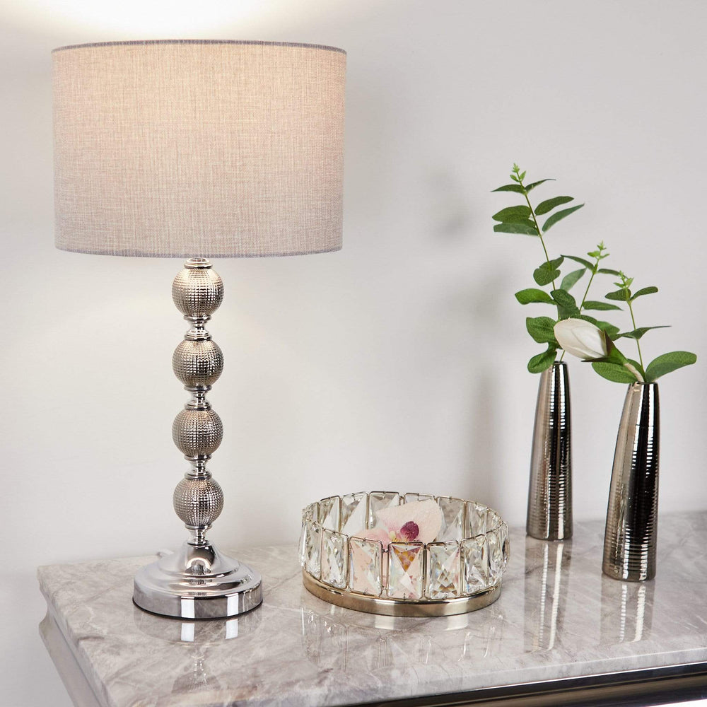Ceramic Ball Table Lamp With Light Grey Shade Ceramic Ball Table Lamp With Light Grey Shade