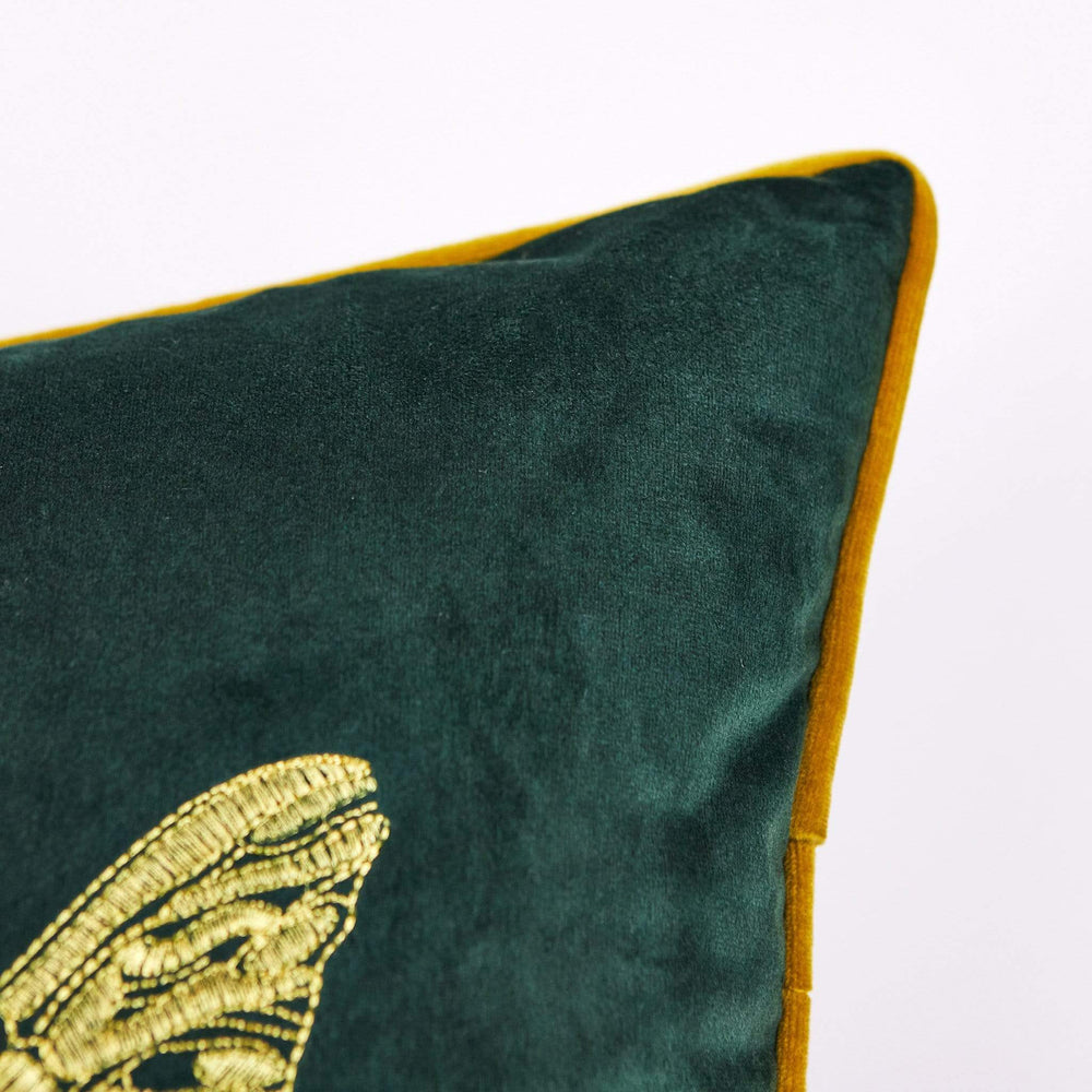 Cerana Emerald Velvet Bumble Bee Cushion