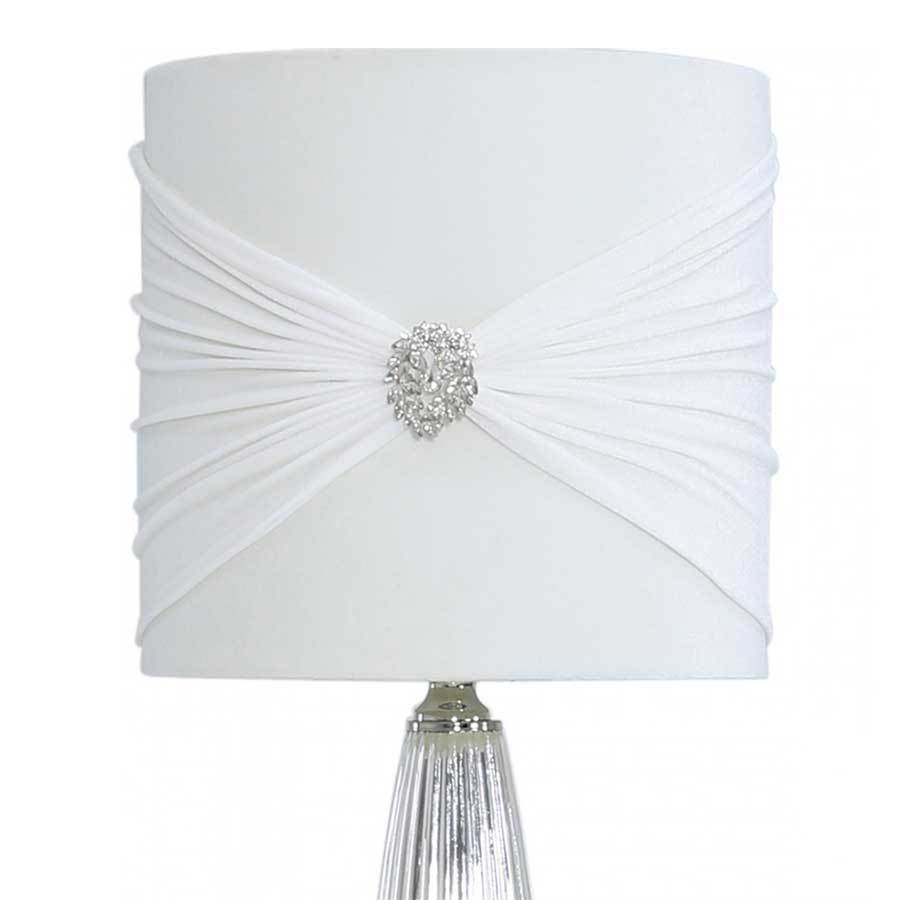 Chrome Glass Table Lamp with White Shade