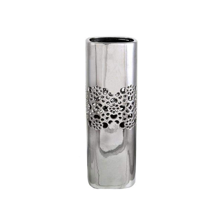 Cut Out Silver Square Vase Small