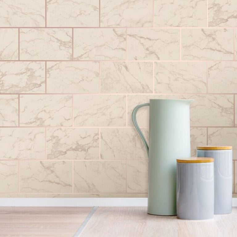 CWV Metro Marble Effect Rose Gold Brick Wallpaper - M1510 CWV Metro Marble Effect Rose Gold Brick Wallpaper - M1510