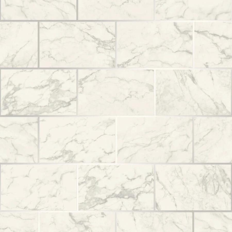 CWV Metro Marble Effect Silver Brick Wallpaper Sample - M1509