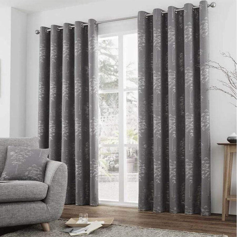 Elmwood Graphite Ready Made Lined Eyelet Curtains 66 x 72'' (168 x 183cm)
