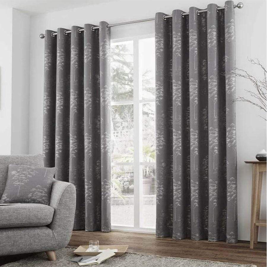 Elmwood Graphite Ready Made Lined Eyelet Curtains 90 x 90'' (229 x 229cm)