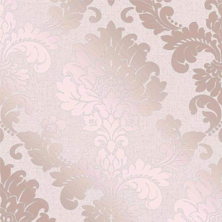 Fine Decor Quartz Damask Rose Gold Vinyl Wallpaper Sample - FD42204