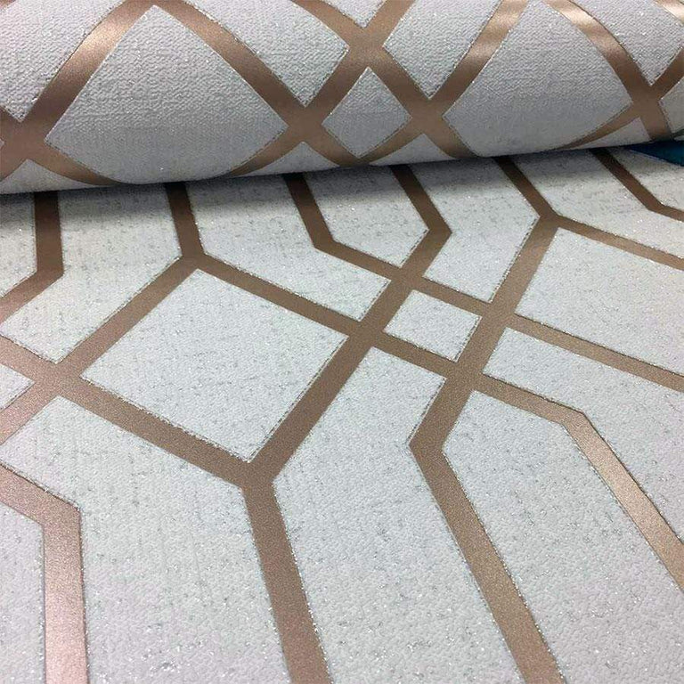 Fine Decor Quartz Trellis Rose Gold Glitter Wallpaper - FD42306