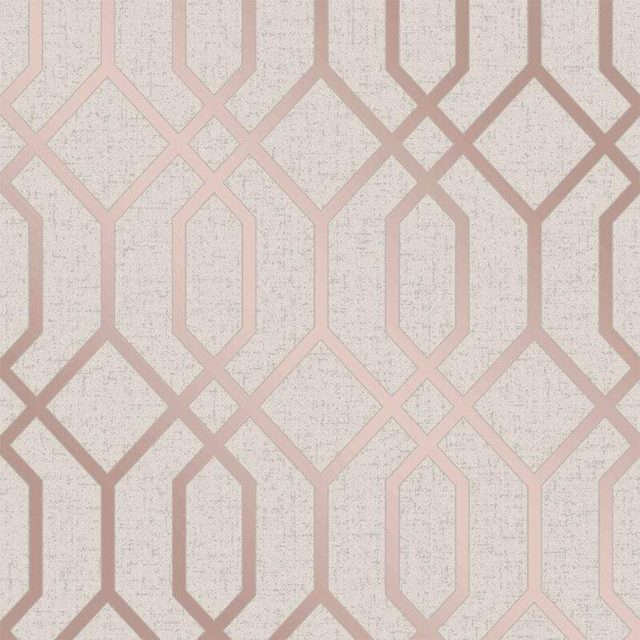Fine Decor Quartz Trellis Rose Gold Wallpaper Sample - FD42306