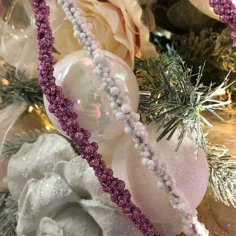 Floralsilk 450cm White Sparkle Berry Christmas Rope