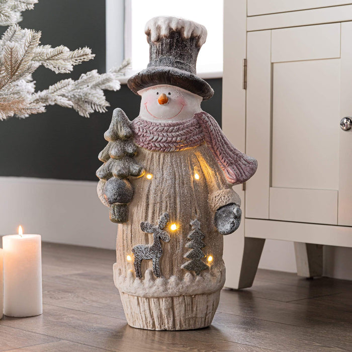 Frosty Snowman Standing Christmas Statue