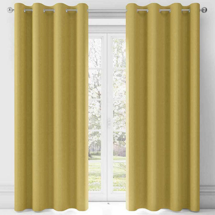 Fusion Sorbonne Ochre Eye Lined Curtains
