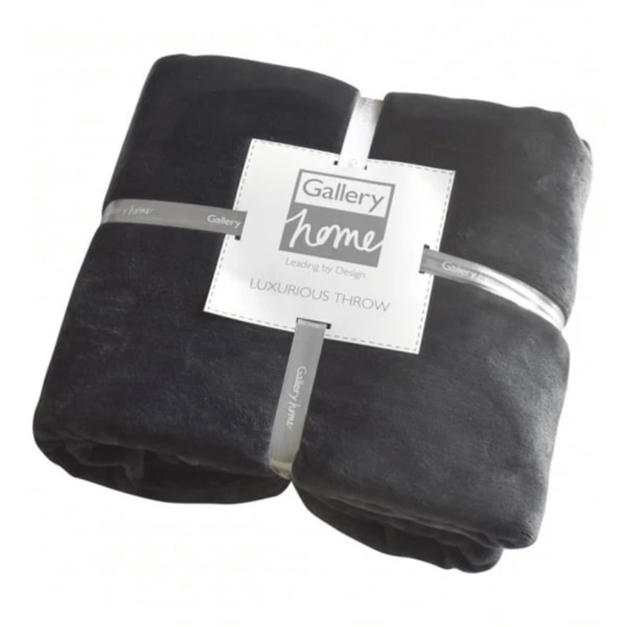 Gallery Flannel Fleece Throw - Charcoal
