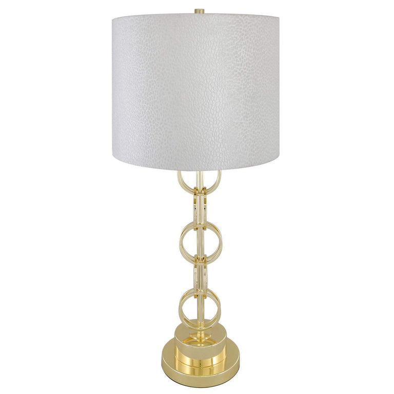 Gold Ring Table Lamp with Velvet Shade 14in Gold Ring Table Lamp with Velvet Shade 14in