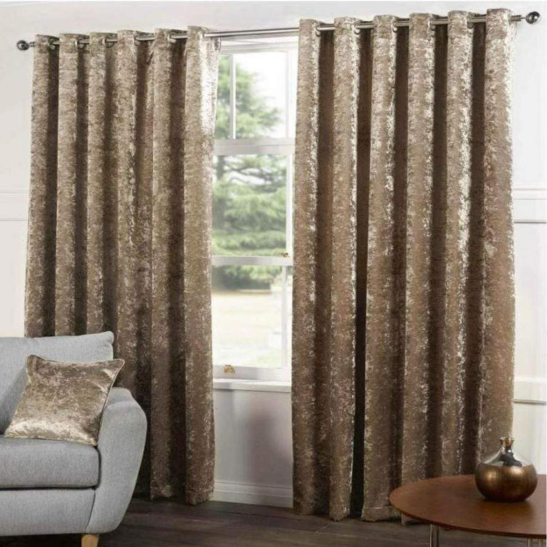 Gordon John Kensington Heavy Crushed Velvet Champagne Curtains