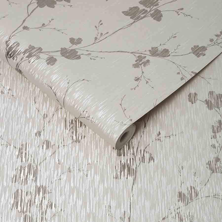 Graham and Brown Sublime Theia Cream Floral Metallic Wallpaper - 106602