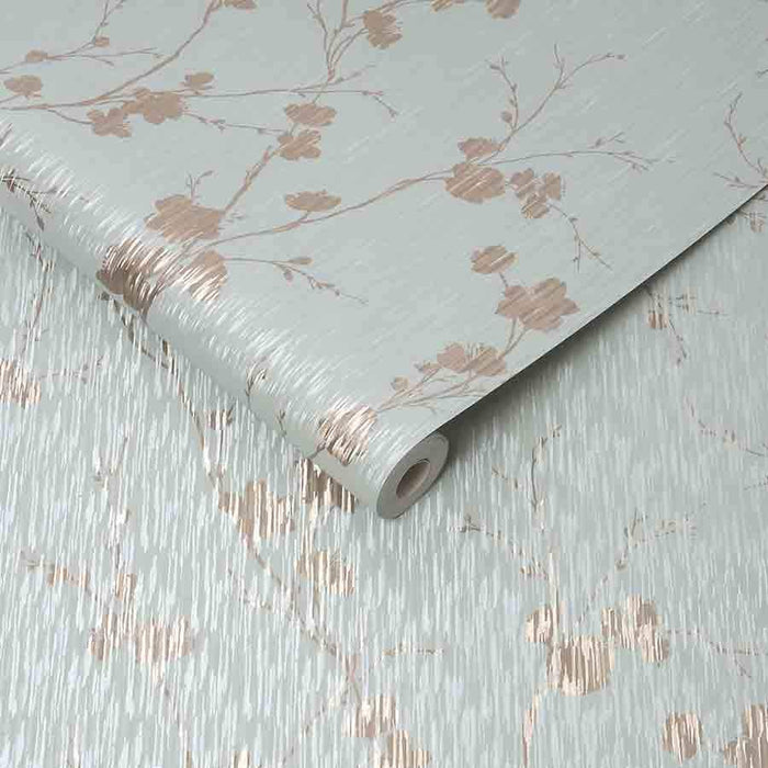 Graham and Brown Sublime Theia Duck Egg Floral Metallic Wallpaper - 106599