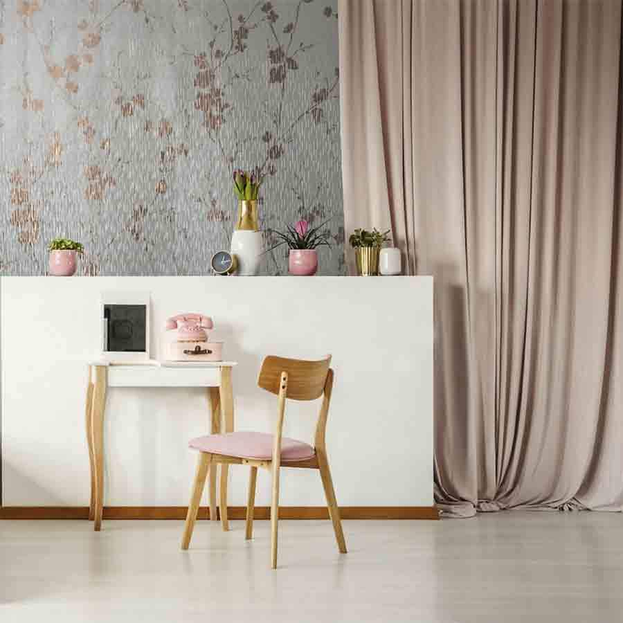 Graham And Brown Sublime Theia Rose Gold Floral Metallic Wallpaper