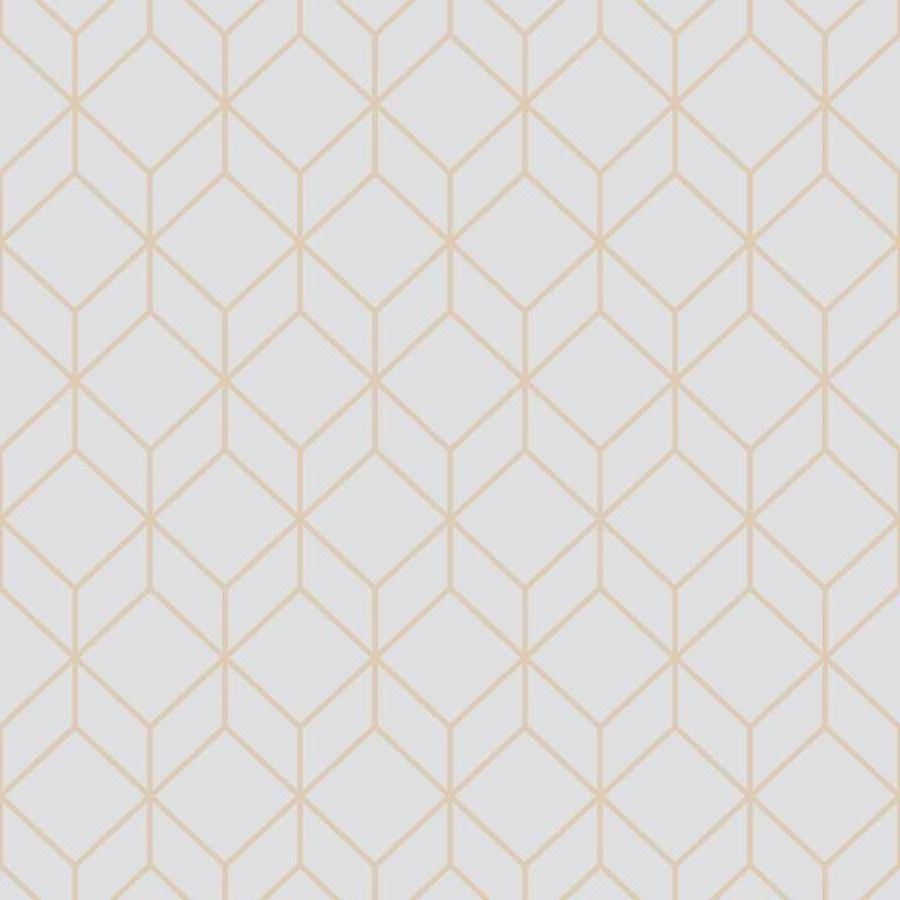 Graham and Brown Super Fresco Myrtle Geo Grey/Rosegold Wallpaper - 104158