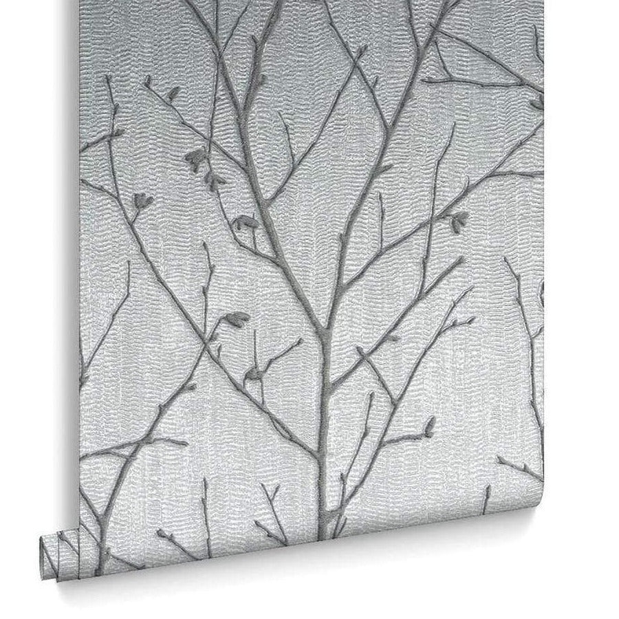Graham and Brown Water Silk Sprig Silver Wallpaper Sample - 104754