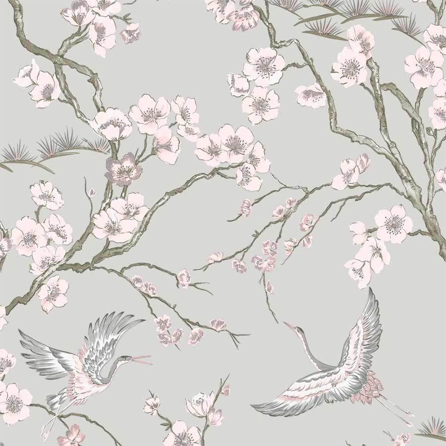 Graham & Brown Sublime Japan Pink & Grey Wallpaper Sample - 105985 Graham & Brown Sublime Japan Pink & Grey Wallpaper Sample - 105985
