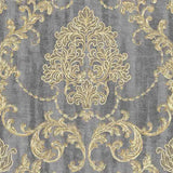 Grandeco Lauretta Damask Grey Textured Glitter Sample - 130404