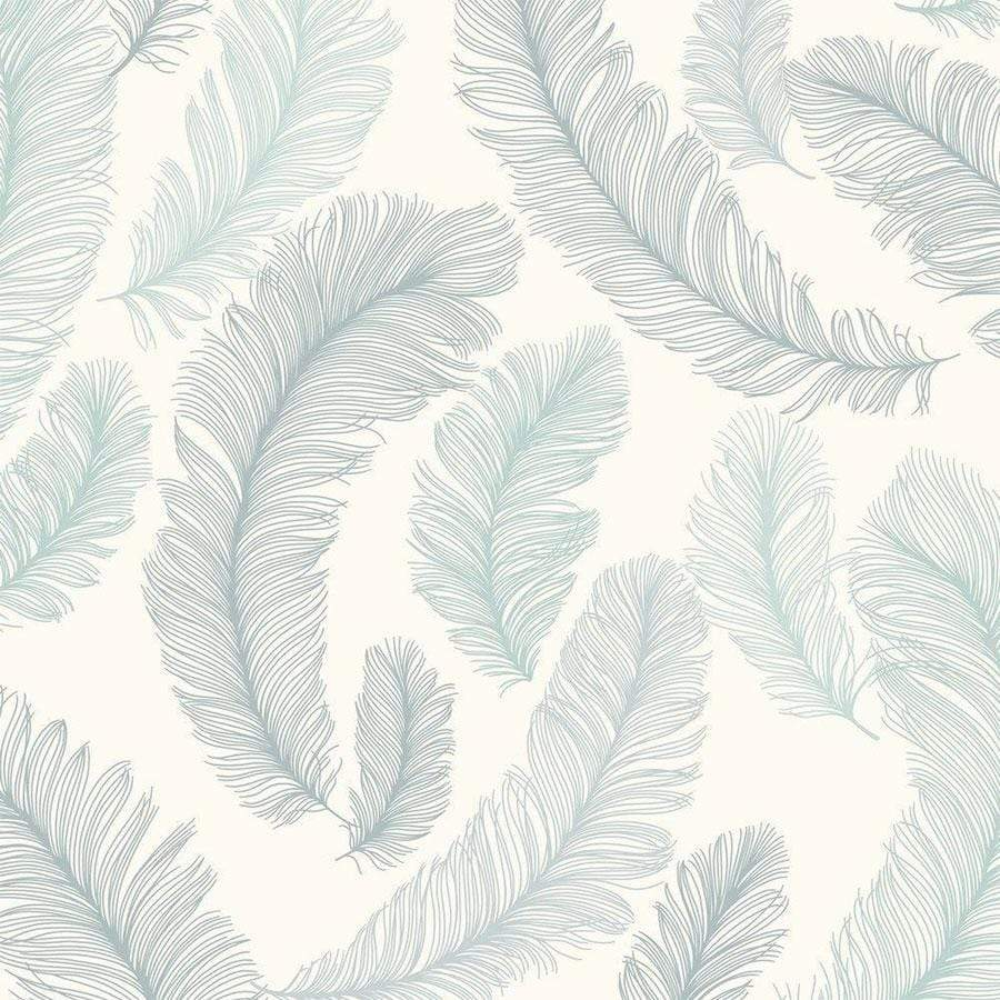 Grandeco Yasmine Feather Pattern Teal Glitter Textured Wallpaper Sample - RE2004