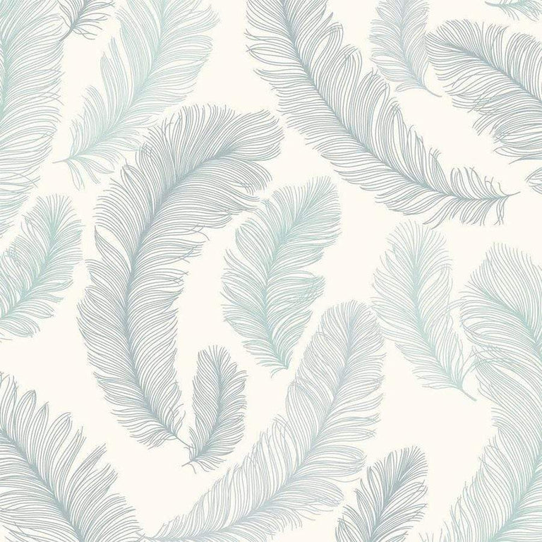 Grandeco Yasmine Feather Teal Glitter Wallpaper - RE2004