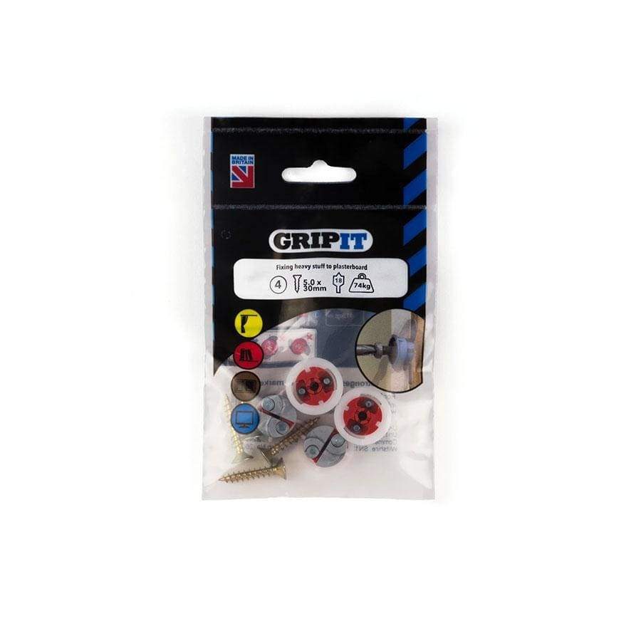 Gripit Pack Of 4 Red Plasterboard Fixing 18mm