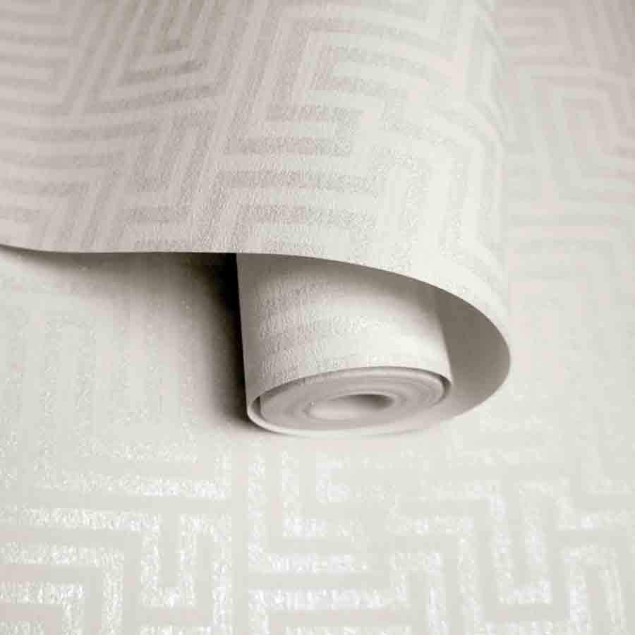 Holden Labyrinth Maze White Metallic Glitter Wallpaper - 65591
