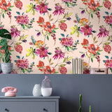 Holden Melgrano Floral Blush Pink Metallic Wallpaper - 90522