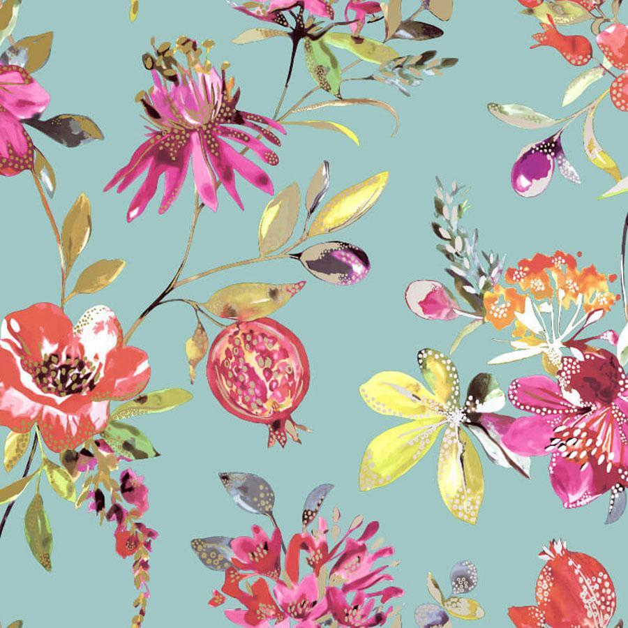 Holden Melgrano Floral Soft Teal Metallic Sample - 90520