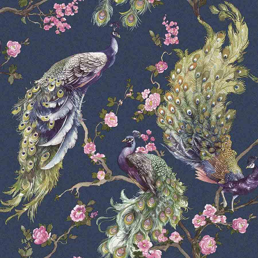 Holden Menali Peacock Navy Wallpaper Sample - 35922