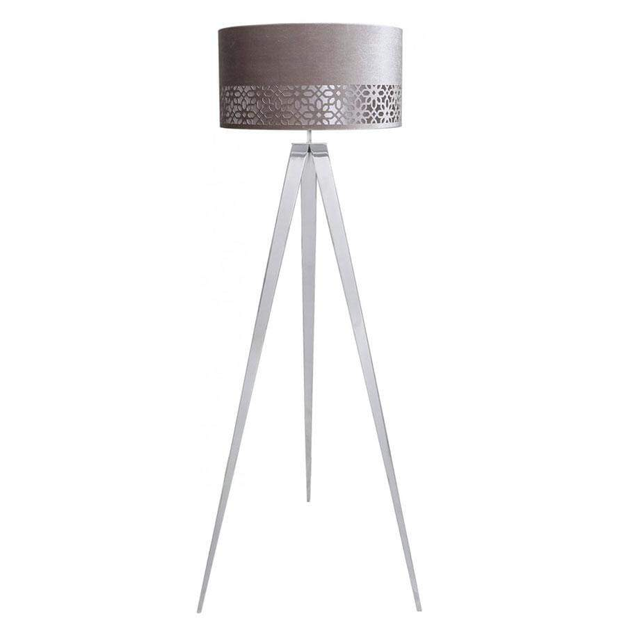 Large Chrome Hollywood Floor Lamp With Grey Shade