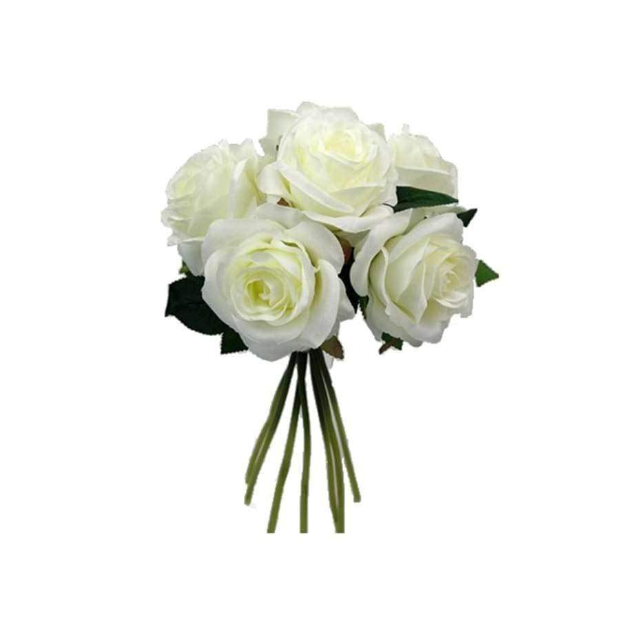 Large Seven Open Rose Bundle Ivory
